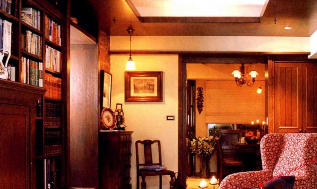 客厅内的英式风格复古砖