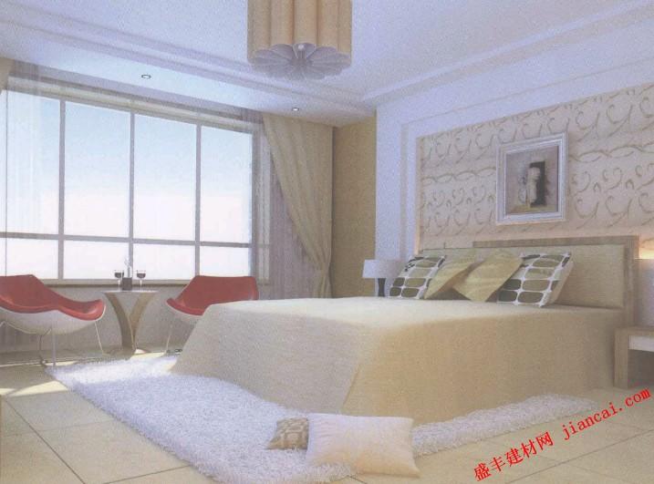 卧室内的白色地砖高清图片