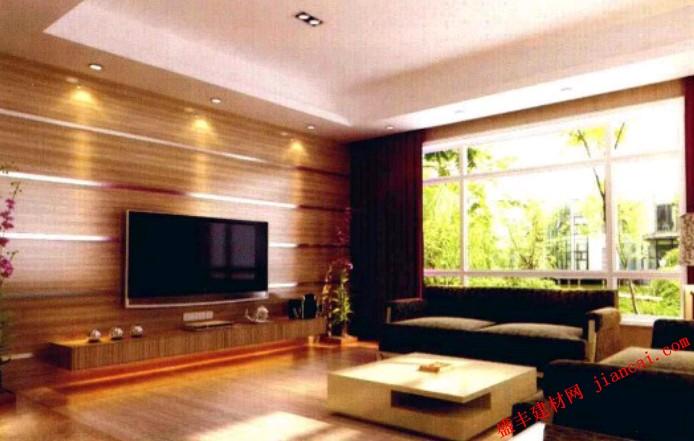 如此宽敞清新的客厅设计,可以很明显得体会到整个空间弥漫着一股浓浓的现代气息,家具与墙面深浅色调的对比使整个空间更富层次之感。   空间层次分明,创造出了无穷的变化,吊顶造型简洁大方,注重实用性,且与灯具造型既达到了对比性又有一种和谐统一的味道。电视背景墙主题突出,木质的元素可谓是发挥地淋漓尽致,在投影灯具的照射下更显自然清新,大面积的窗户设计,外面的美景一览无余,绿色植物的运用,让客厅变得精巧别致了许多,温馨舒适,带来满满的舒适与惬意,紫红色窗帘的添加更是创意十足,活力四射。