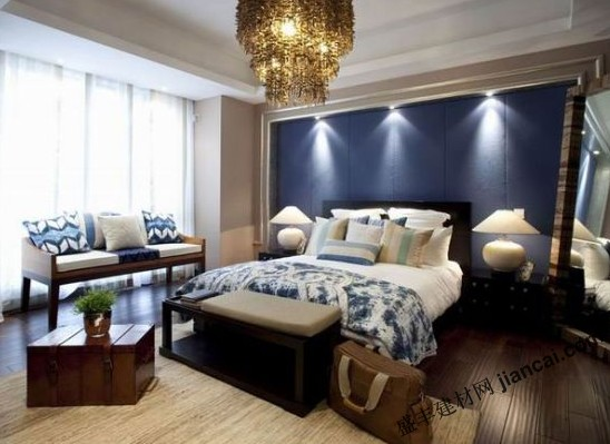 臥室內的藍色背景墻