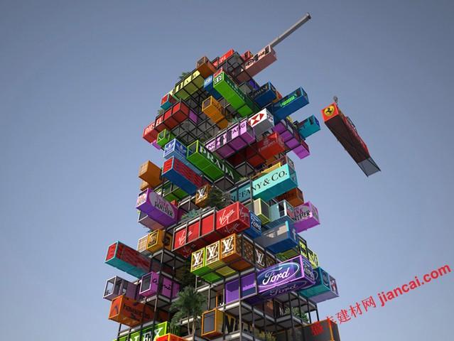 """激进创新奖的挑战,专业建筑师和学生概念化雄心勃勃的建议了一套简单的设计。今年,比赛要求""""想法将有短期的,好客的积极影响""""。   总部位于香港的OVA工作室,建议肯定是激进的。本设计为HIVE-INN,利用废弃的集装箱和堆叠成直角,他们彼此形成一个有机的塔最大的灵活性和机动性。为了减少对酒店经营成本,工作室暗示广告和高端品牌酒店对面的外观,使公司品牌在外面的海运集装箱,并对室内装修的结合。为了演示如何这可能是工作,该小组已制定了一套的内部概念。"""