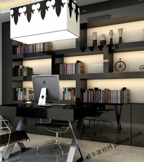 自然随性的书房设计 淡淡的黑色金属感