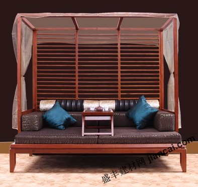 东南亚风格的实木沙发床设计