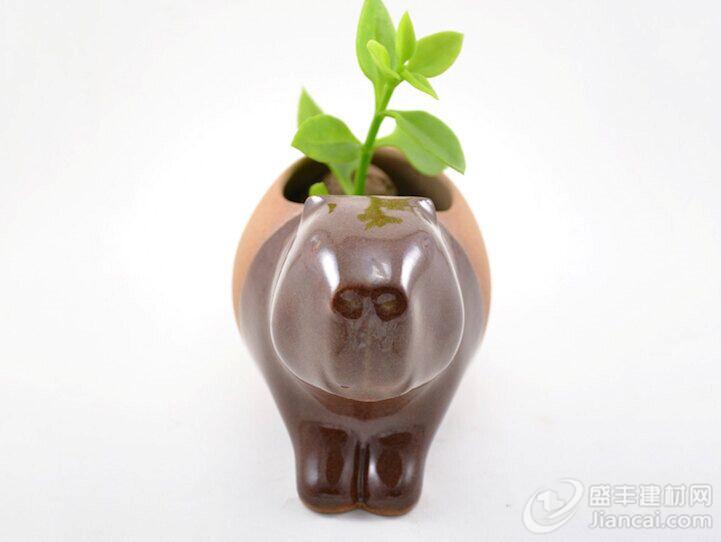 可爱的生动物陶瓷花盆
