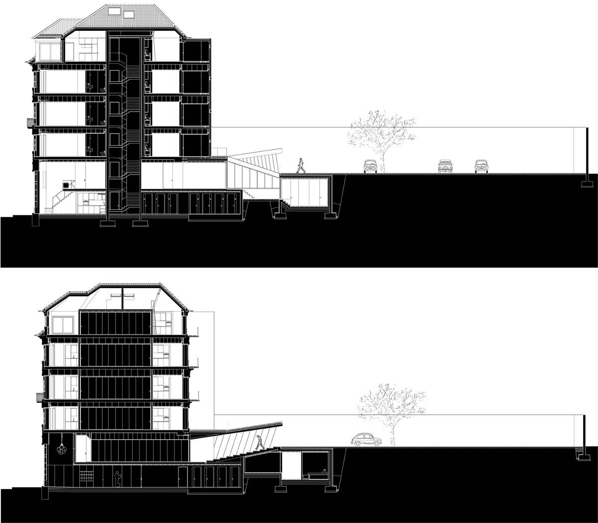 现在DM2大楼必须接受改造以使其成为合格的住宅楼来得已继续使用。    因此,DM2大楼整体被划分出17个单元,面积为28~105平方米的T0和T1两种户型分布在五个楼层,,大楼还配备一个用于停车的景观庭院。    现在大楼的重建工作已经完成。改建后的建筑保留了原来的居住功能,既突出了大楼本身在建筑形态上的特点,又符合波尔图市中心整体的现代感。