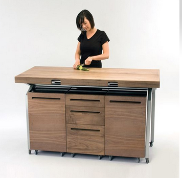 扩展的餐桌双打小型厨房岛