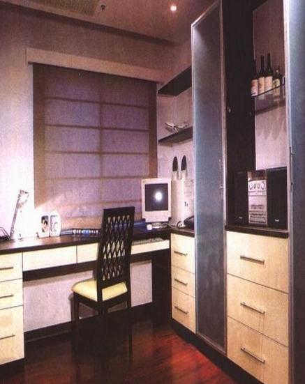 书房采用对比色,整体以胡桃木相间