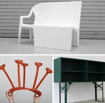 扭曲不寻常的材料橡胶木材和金属家具