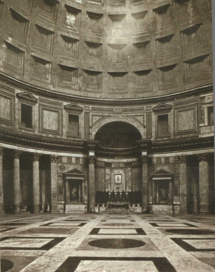 万神庙的结构简洁,形体单纯,是古罗马建筑最辉煌的成就之一.
