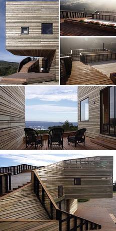 当代创意家居设计所有木材的山坡