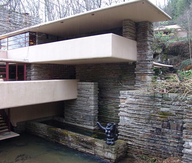 """流水别墅又称""""流水山庄"""",是赖特的重要建筑设计作品."""