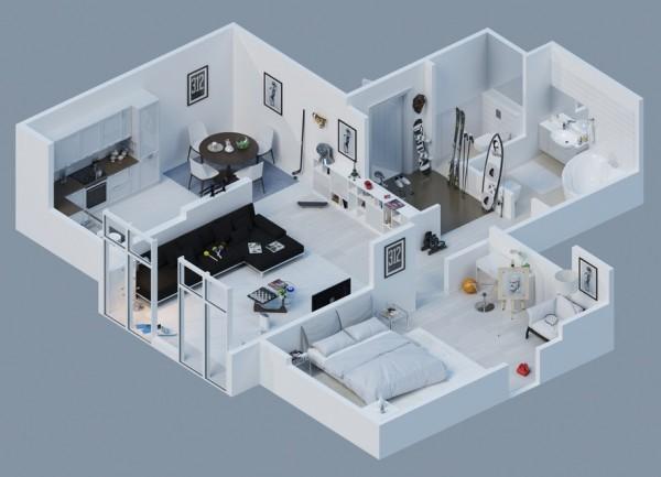 公寓设计3D平面图