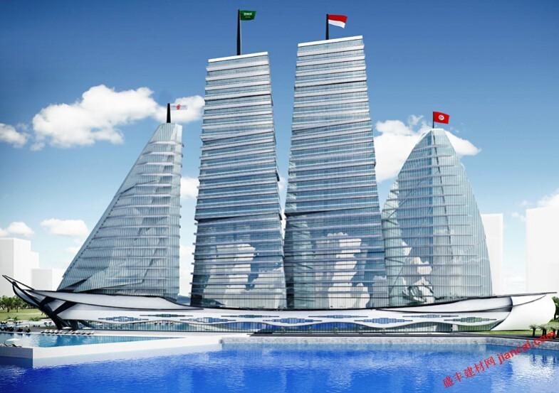 """了""""白色帆船医院""""在突尼斯城市,有计划的海滨城市项目和大型大都市."""