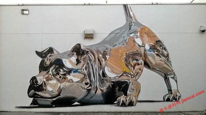 镀铬壁画拥有三维雕塑的幻觉