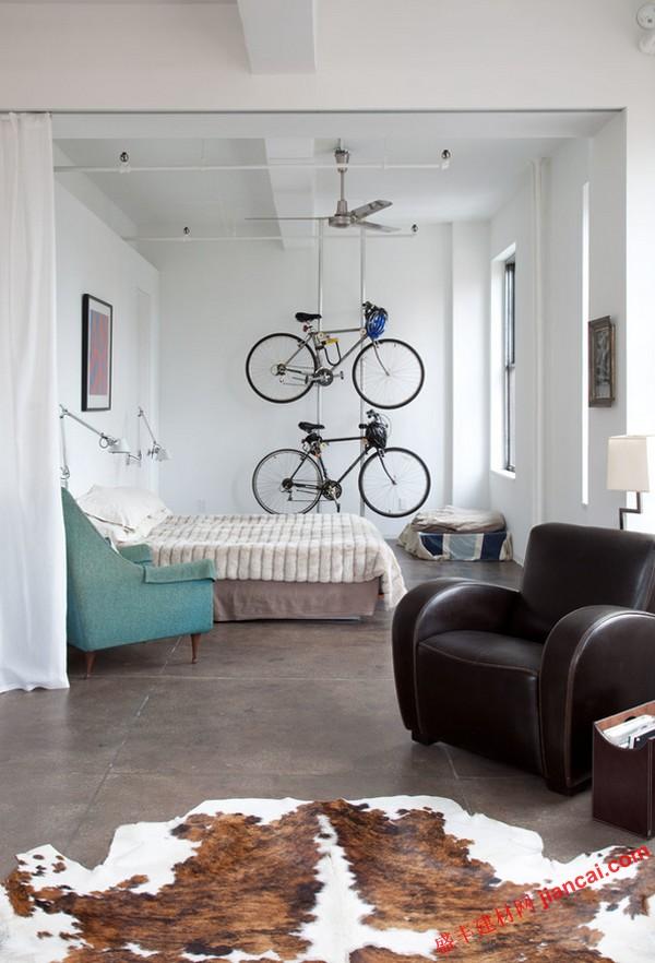 自行车存放理念在您的家庭或车库