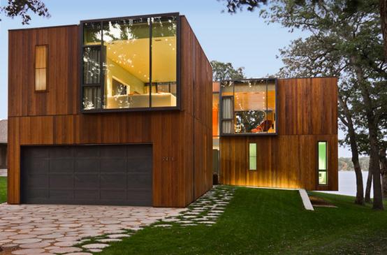 湖边木质别墅图片